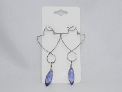 Tanzanite and antiqued silver wire earrings