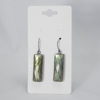Rectangle labradorite earrings with black gold ear wires