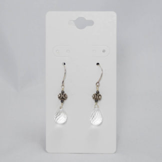 Small quartz crystal drop earrings with sterling silver ear wires