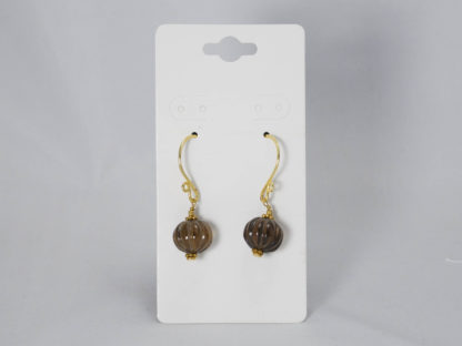 Smoky quartz round earrings with gold plated earwires
